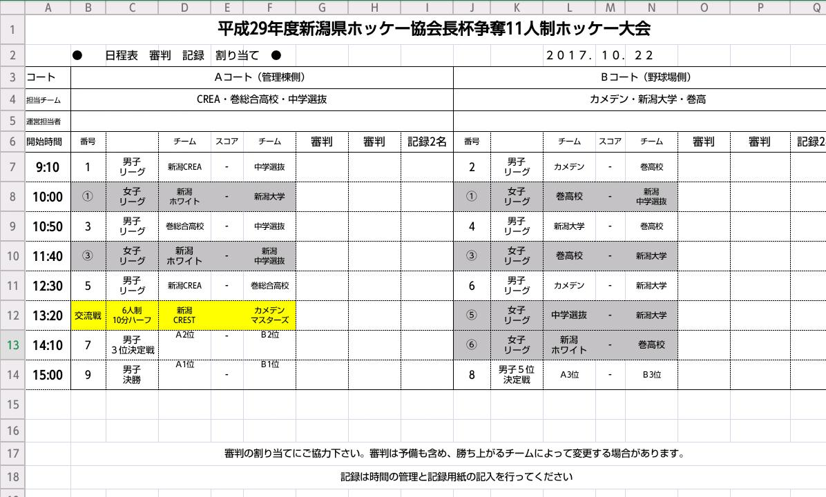 新潟県協会長杯11人制大会 日程