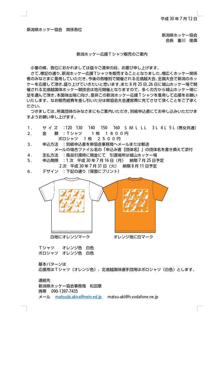 新潟ホッケー応援Tシャツ